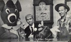 Captain Kangaroo with Dancing Bear, Mr. Bunny Rabbit, Grandfather Clock, Mr, Moose and Mr. Greenjeans