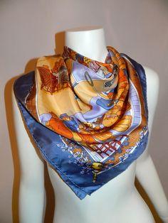 """HERMES scarf """"Un siede de Courses a Deauville"""" de Watrigant 2003 Limited Edition silk Carre - $398"""