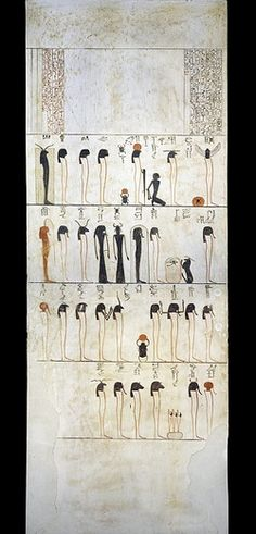 Egypt, Thebes (UNESCO World Heritage List, 1979) - Luxor. Valley of the Kings. Tomb of Thutmose III. Burial chamber. Pillars. Mural paintings. Illustrated Litany of Ra (Dynasty 18, Thutmose III, 1490-1436 BC) Digital reconstruction (KV34 - 335249)