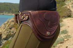 Leather Utility Hip Belt BaG   DOUBLE RING   DBROWN by offrandes, $120.00