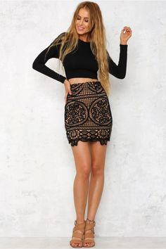 Make an impact in the Big Bang Skirt! This style has a geometric crochet overlay…