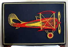 Vintage 1970's Mid Century String Art Airplane Wall Art On Felt