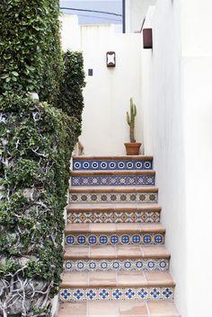 spanish tile stair detail + cactus   quintessential #LA