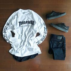 WEBSTA @ damodamo_ - Tokyo #outfitgrid from the other day. Not the usual floor but it'll do.. @hufworldwide x @thrashermag @nudiejeansmelbourne @vans #oldskool