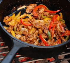 Nibble Me This: Skillet Pork Fajitas - soooo good and very easy to make.  They were a big hit for dinner last night.