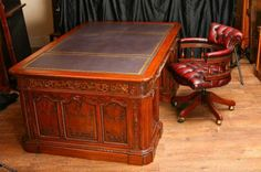 Mahogany Presidents Resolute Desk Partners & Chair Set