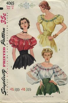 Vintage Sewing Pattern | Blouse | Simplicity 4065 | Year 1952 | Bust 30 | Waist 25 | Hip 33