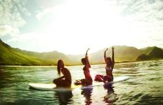 surfing in the sun with friends