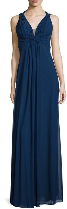 La Femme Draped Sleeveless V-Neck Gown, Navy