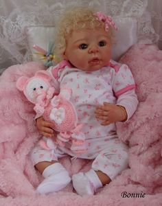 Reborn Baby girl Bonnie...Rosanne kit by Adrie Stoete...6 lbs & 9 oz's...22 inches...rooted hair..Created by me...2013