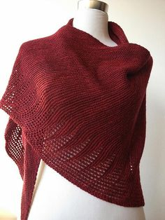 Shawl. Freesia by Jumper Cables Knitting malabrigo Sock, Tiziano Red.