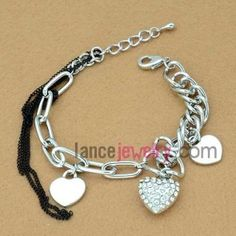 Creative heart-shaped with rhinestone decoration chain link bracelet