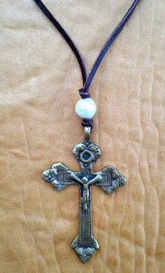 Vintage Cross and Fresh Water Pearl Layering Necklace by ShopElectricBuffalo on Etsy