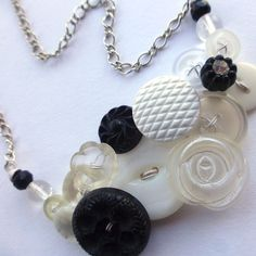 Black and White Wedding Button Statement Necklace - Bridal Jewelry by buttonsoupjewelry, $33.00