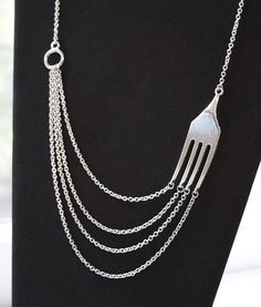 FOODIE FUNK  Silver Fork and Chains Necklace by airzinnn on Etsy, $20.00