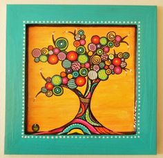"""Peinture sur bois """"L'arbre de couleurs"""" : Peintures par sylphide"""