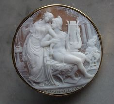"Museum quality ""The love of Helen and Paris"" Cameo, Sardonyx shell, circa 1925, Italy, signed by artist Giovanni Noto."