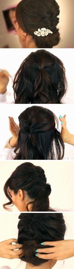 Braided Bun   Quick DIY Prom Hairstyles for Medium Hair   Quick and Easy Homecoming Hairstyles for Long Hair