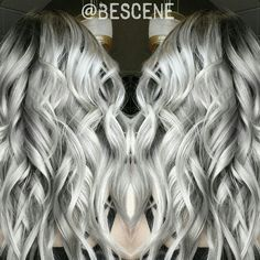 LET'S GET UP CLOSE & PERSONAL WITH THIS ROOTY PLATINUMSILVER! I did this color for one of my favs  @kristinaraesaylor. I used @Schwarzkopfusa Igora Royal for this color. Base: 4-13, 5-1 7vol. Ends: 9.5-22, 9.5-1 7vol  Color: Me #bescene Styling: @maayanbescene