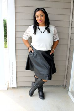 white lace sleeve top and black leather skirt, easy modest outfit idea