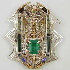 Dragon Pendant Gemstones Gold Sterling Silver Handmade Fair Trade Bazaars R Us