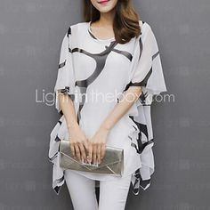 Women's Basic Plus Size Batwing Sleeve Loose Blouse - Graphic Black & White, Pleated / Print White XXXL / Summer / Flare Sleeve 2019 - Rs. Tankini Swimsuits For Women, Plus Size Swimwear, Cheap Blouses, Blouses For Women, Women's Blouses, Ladies Blouses, Plus Size Blouses, Plus Size Tops, Cheap Womens Tops