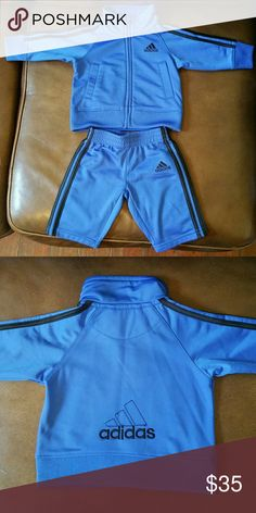 Blue and Black Adidas Track Suit Size 3months. Hello Posh Community! This is an adorable Blue and Black Track Suit by Adidas. This Track Suit is a size 3 months. It's in great condition. Please look at photos. Thanks for looking. adidas Matching Sets