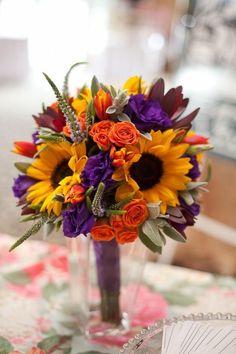 purple and yellow sunflower wedding centerpiece / http://www.himisspuff.com/country-sunflower-wedding-ideas/7/