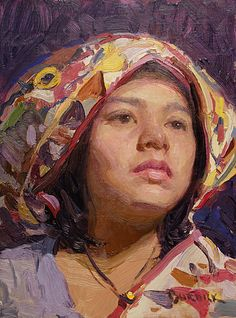 "Scott Burdick 2007 ""Korinne Looking Up"" oil"