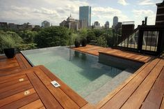 roof deck pool with city view
