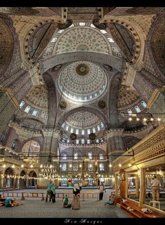 New Mosque Istanbul -- Turkey 5 shot panorama Hdr + PS Topaz Mosque Architecture, Religious Architecture, Beautiful Architecture, Art And Architecture, Religion, Beautiful Mosques, Beautiful Places, Blue Mosque Istanbul, Beau Site