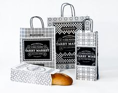 Loving the vintage linoleum patterns paired with great serif typography on the Tarry Market branding by Memo New York. Gorgeous.
