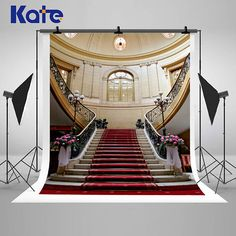 Red Carpet Stairwell Palace Photography Backdrops Indoor