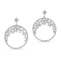 2.50ct Diamond Dangle Hoop Earrings In Filigreed 18k White Gold