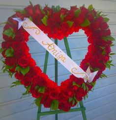 """Fantasy Flowers  More ~ Premium 24"""" Red Rose Sympathy Heart - Red Roses,Carnations, and various foliage. www.fantasyflowersandmore.com"""