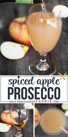 Spiced Apple Prosecco is a quick and easy drink full of fall flavor. It is a simple cocktail combination of spiced rum, Proscecco, and apple cider. #prosecco #apple #cider #rum #cocktail #fall #recipe #easy Cider Cocktails, Prosecco Cocktails, Fall Cocktails, Holiday Drinks, Fun Drinks, Yummy Drinks, Spiced Rum Drinks, Apple Cider Alcoholic Drinks, Carmel Vodka Drinks