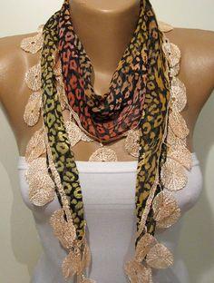Leopard and Brown Orange Elegance Shawl / Scarf by SwedishShop, $13.90