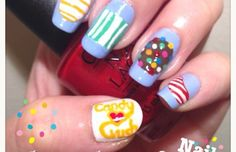 Candy Crush Nails from Daily Charme Candy Crush Saga, Candy Crush Nails, Nail Candy, Candy Crush Cheats, Nail Charms, Crush Love, Nail Art Pictures, Fancy Nails, Nail Decals