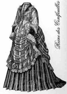 Fashion plates and historical gowns with elements seen in Christine Daae´s Wishing gown, as designed by Maria Bjørnson. Edwardian Fashion, Bustle, Fashion Plates, Day Dresses, Dress Making, Bodice, Winter Fashion, Victorian, Gowns