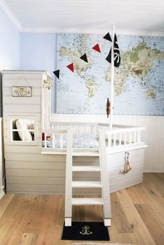 Boat bed in kids nautical themed room. Toddler Rooms, Baby Boy Rooms, Baby Room, Toddler Bed, Pirate Nursery, Pirate Bedroom, Kids Pirate Room, Kid Spaces, Kid Beds