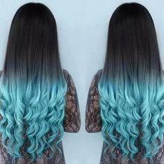 hair, blue, and black resmi