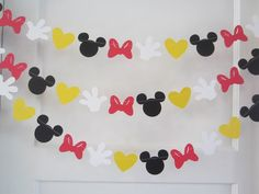 10 ft minnie mouse inspired paper garland banner decorations birthday clubhouse black white red yellow
