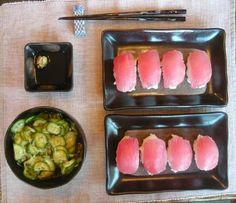 Yellow fin tuna sushi & Japanese Cucumber Salad #PFCSummer