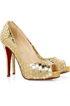 13c47d84cf6c15 Christian Louboutin Poseidon 120 pumps Christian Louboutin pumps have a  peep toe and a siganture red sole. Gold scaled leather pumps with a heel  that mea