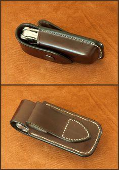 Esta funda es hecha totalmente a mano, moldeo y coser. Varios colores están disponibles. Puedo hacer estos casos para otros modelos que el comprador me manda su cuchillo (excepto modelos de onda y pulso tengo) a recortar lo más justo.