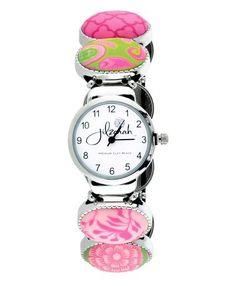 Paisley Pink & Silver Oval Bead Stretch Watch #zulily #zulilyfinds