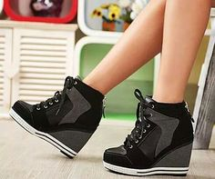 NYfashioncity womens suede sneaker platform high heels shoes lace ups casual Black wedge shoes Black Wedge Shoes, Black High Heels, Wedge Heels, Black Sneakers, Wedge Heel Sneakers, Shoes Sneakers, Sneakers Adidas, Black Booties, Gowns
