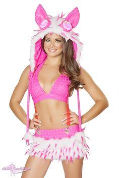 Sexy Premium GoGo Outfit Pink White Galatic No.2 - Besuche uns gern auch auf dressme24.com ;-) Hochwertiges Minirock Set aus weicher Stretch Microfaser & kuschligem Kunstpelz. Der Rock ist mit zusätzlichen Trägern ausgestattet. Leuchtet im UV Schwarzlicht. #Gogooutfits, #Dancewear, #Minirock