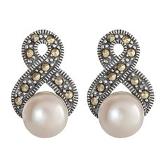 Antique style silver, #marcasite and #pearlearrings - perfect for the bride! #earrings. #marcasitejewellery #bridalearrings #weddingearrings  #marcasiteearrings €59 Available @ www.luluandbelle.com
