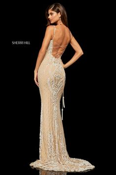 Sherri Hill - 52454 Fully Beaded Lace Up Back Fitted Evening Dress Sherri Hill Prom Dresses, Prom Dresses Online, Homecoming Dresses, Pageant Dresses, Beaded Gown, Beaded Lace, Sexy Bikini, Best Party Dresses, Evening Dresses